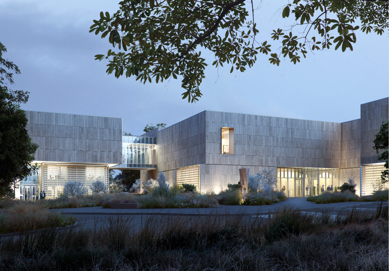 View of the main entry plaza of the new Palmer Museum of Art at Penn State. Architect: Allied Works. Rendering: Courtesy of MIR.