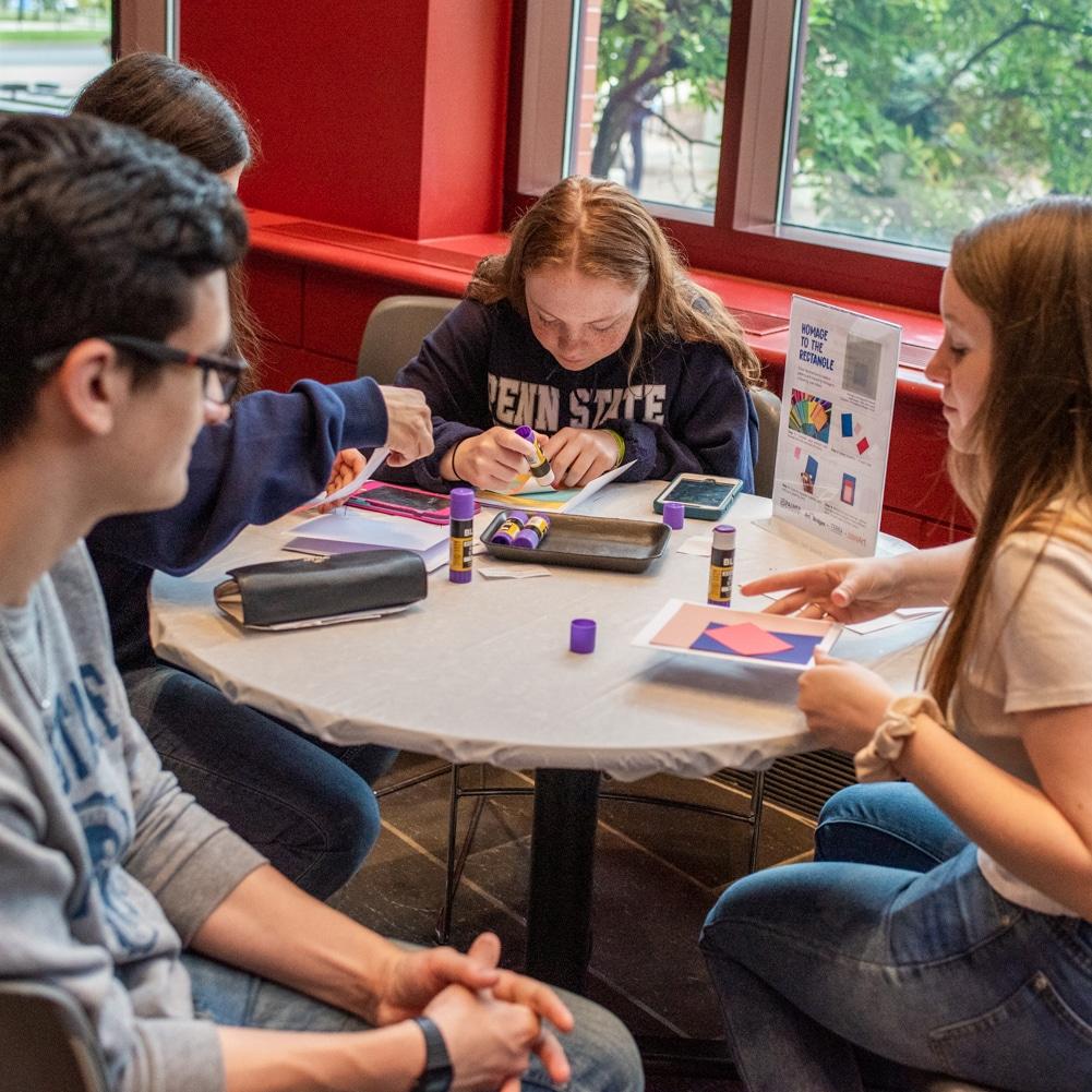 PSU students art-making at the Palmer